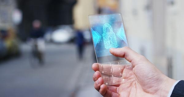 Ilustrasi Keamanan Transaksi Online Digital dengan HP atau Aplikasi Handphone